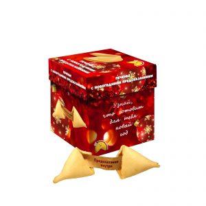 новогодняя упаковка печенья с предсказаниями